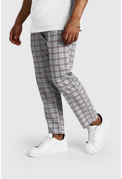 Grey Tapered Fit Cropped Check Smart Trouser
