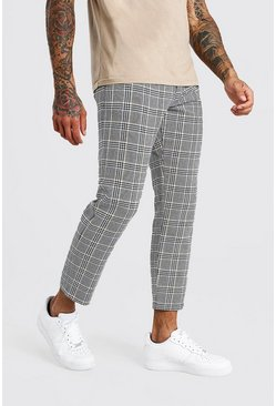 Black Slim Fit Cropped Check Smart Pants