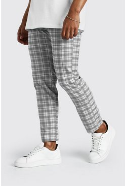 Grey Skinny Fit Cropped Check Smart Pleated Pants