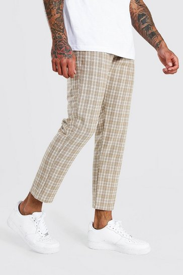 Beige Skinny Fit Cropped Smart Check Trouser
