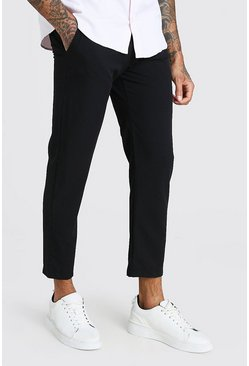 Black Skinny Fit Cropped Smart Trouser