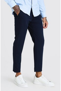 Navy Skinny Fit Cropped Smart Trouser