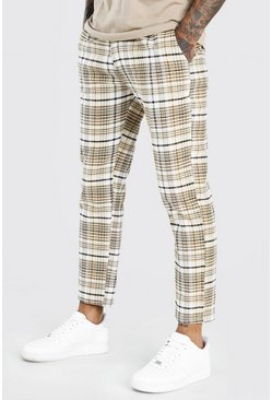 Beige Slim Fit Cropped Check Smart Trouser