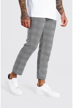 Grey Skinny Fit Crop Contrast Waist Smart Check Pants