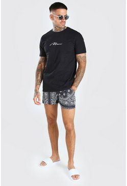 Black MAN Signature T-Shirt & Bandana Swim Short Set