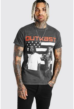 Charcoal Outkast Flag Print License T-Shirt