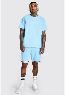 Light blue MAN Signature Tape Short Set With Sports Rib