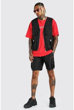 Black Original Man Shell Buckle Utility Vest & Short
