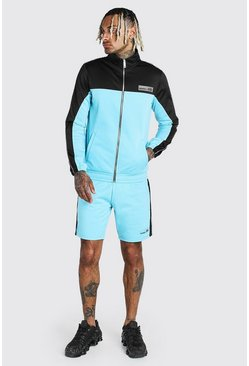 Blue Tricot Colour Block Short Tracksuit With MAN Badge