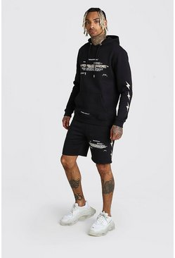 Black MAN Official Lightning Printed Short Tracksuit