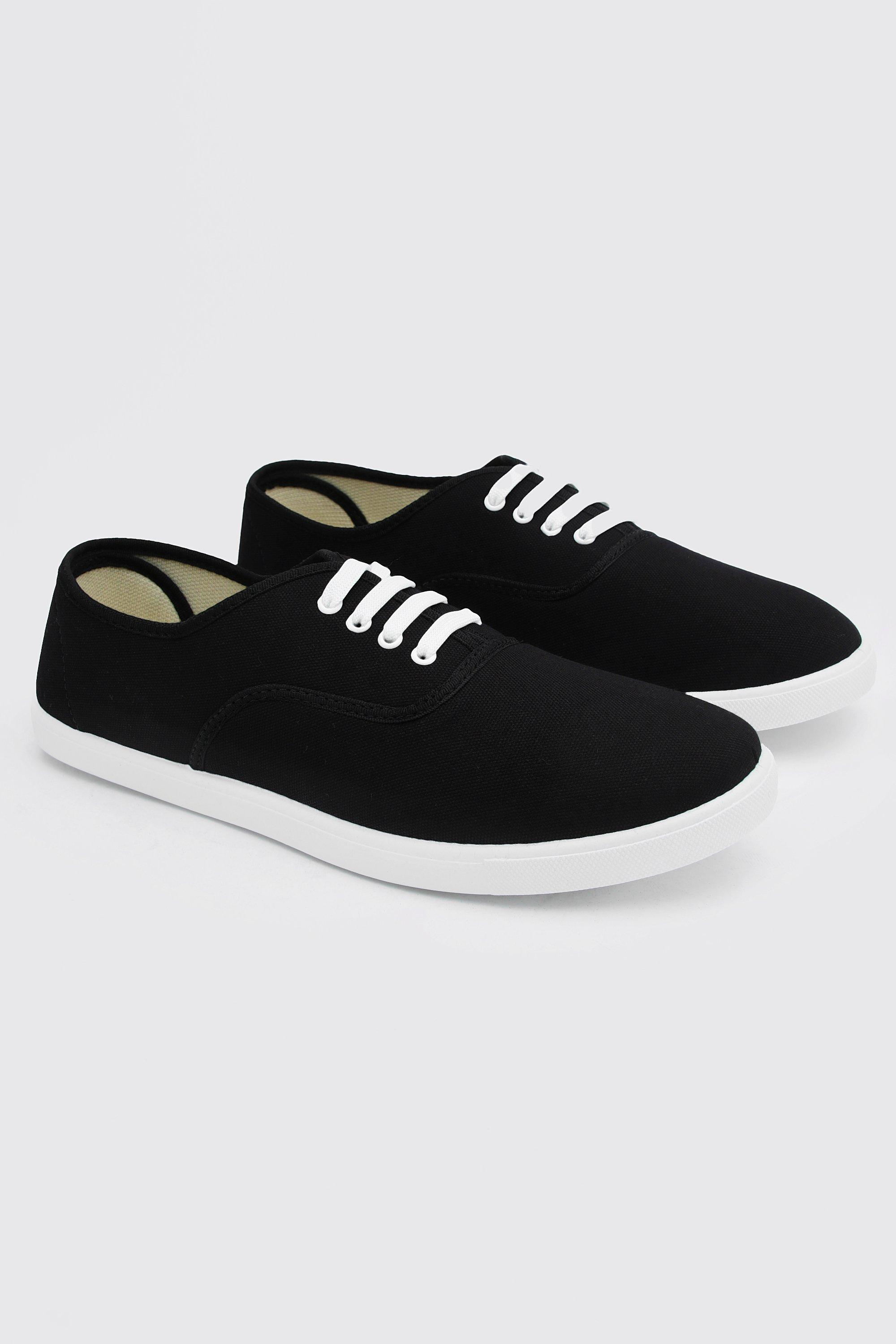Men's 1950s Shoes Styles- Classics to Saddles to Rockabilly Mens Basic Lace Up Plimsoll - Black $8.40 AT vintagedancer.com