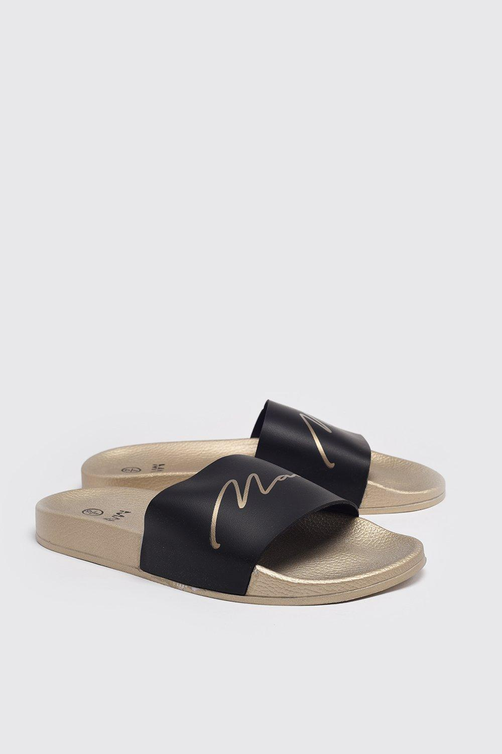 mens man gold sliders - metallics