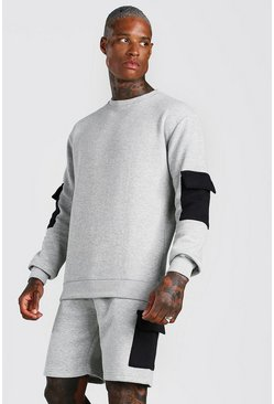 Grey Original MAN Cargo Short Sweater Tracksuit