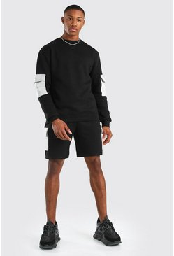 Original MAN Sweater-Jogginganzug mit Cargo-Shorts, Schwarz