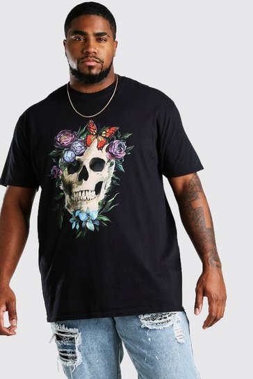 Black Big And Tall Floral Skull Print T-Shirt