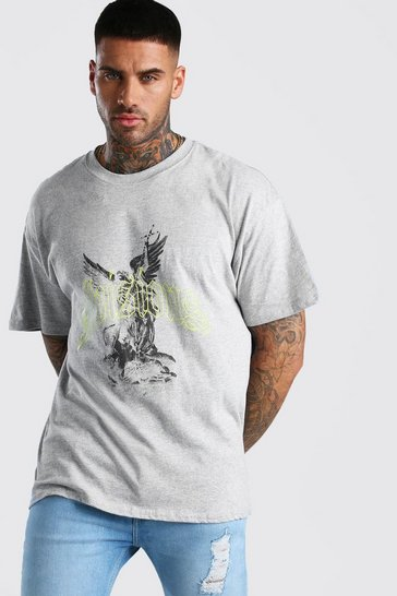 Grey marl Oversized Divisions Statue Print T-Shirt