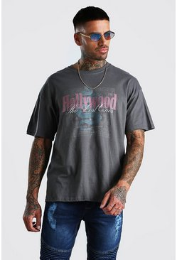 Charcoal Oversized Hollywood Front & Back Print T-Shirt