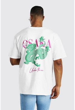 White Oversized Osaka Back Print T-Shirt