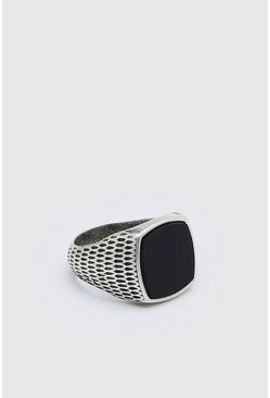 Silver Black Signet Ring