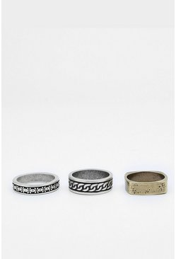 Multi 3 Pack Band Ring Set
