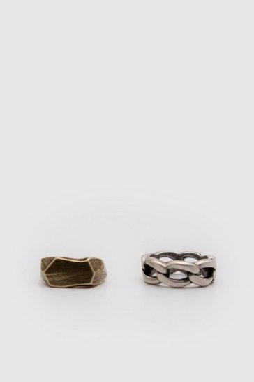 Multi 2 Pack Chain And Hammered Ring Set