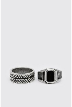 Silver 2 Pack Signet Ring And Band Ring Set