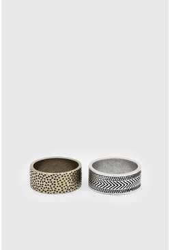 Multi 2 Pack Engraved Ring Set