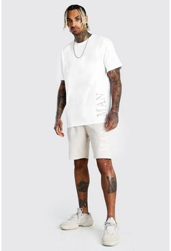 White Contrast MAN Loose Fit T-Shirt And Short Set
