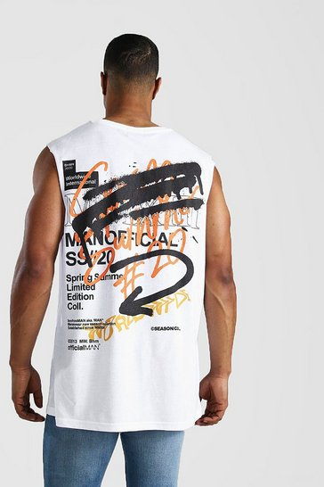 White Oversized MAN Graffiti Back Print Drop Arm Tank