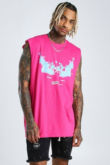 Pink Oversized MAN Official Flames Drop Armhole Tank