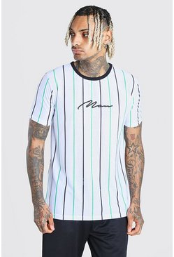 White MAN Signature Vertical Stripe T-Shirt