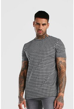 Black Dogtooth Jacquard T-Shirt