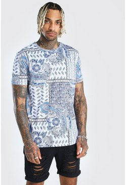 Blue All Over Patchwork Paisley Print T-Shirt