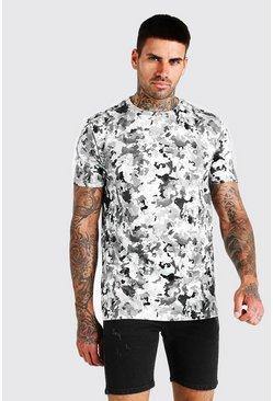 Grey MAN Official Pixelated Camo Print T-Shirt
