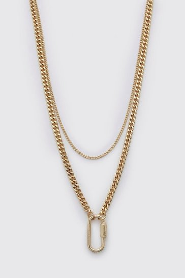 Gold Small Carabiner Chain Necklace