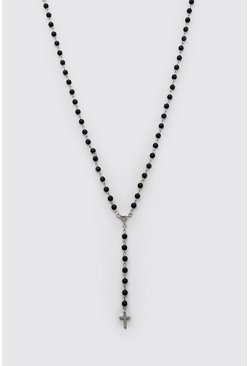 Black Beaded Cross Pendant Necklace