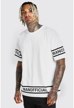 White Oversized MAN Official Hem Detail T-Shirt