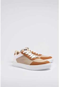 Cream Multi Panel Cupsole Trainer