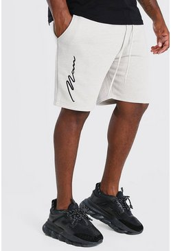 Stone Big And Tall 3D MAN Script Embroidered Shorts