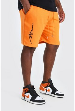 Orange Big And Tall 3D MAN Script Embroidered Shorts