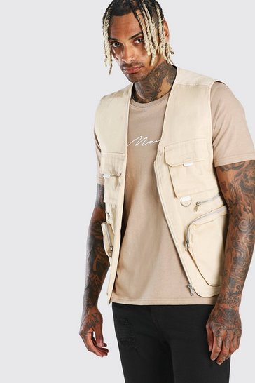 Stone Camo Lined Twill Utility Vest