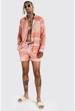 Orange Long Sleeve Border Print Shirt & Swim Short Set