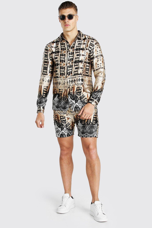 mens long sleeve border print satin shirt and short set - metallics