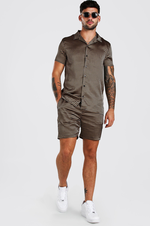 mens short sleeve satin dogtooth skirt and short set - brown