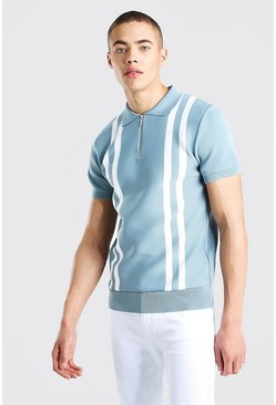 Dusty blue Zip Through Stripe Knitted Polo
