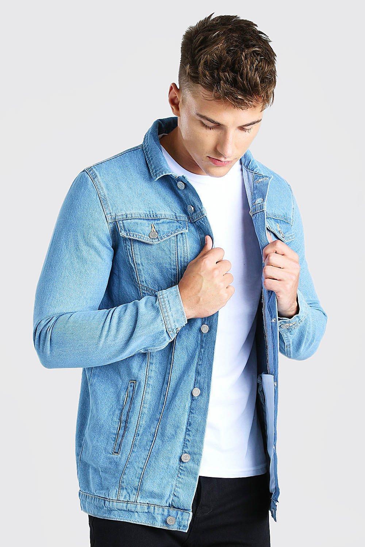 mens longline jean jacket - blue
