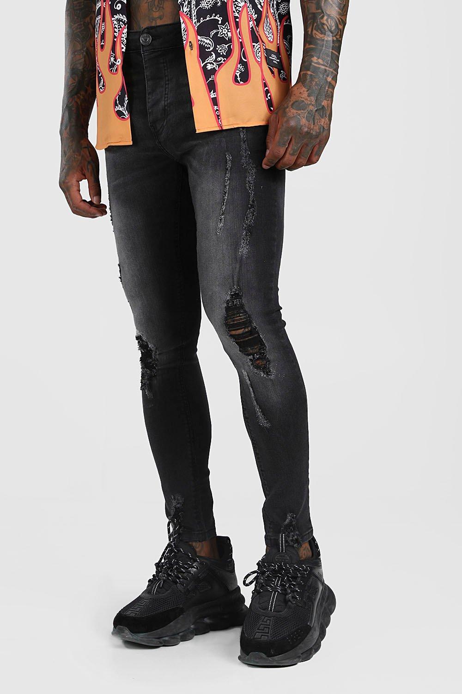 mens super skinny distressed jeans - black