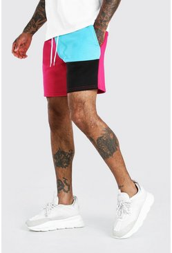 Pink MAN Mid Length Patchwork Colourblock Jersey Shorts