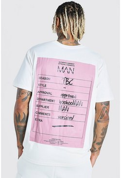 Ecru MAN Back Print T-Shirt And Cargo Short Set