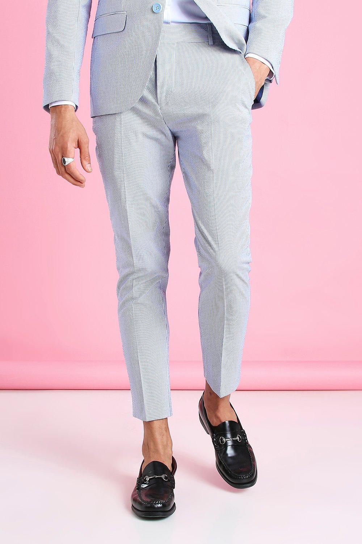 80s Men's Clothing | Shirts, Jeans, Jackets for Guys Mens Skinny Split Hem Bleached Jeans With Plastic Chain - Blue $10.00 AT vintagedancer.com